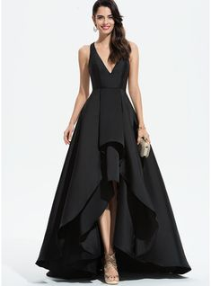 best=A Line V neck Asymmetrical Satin Prom Dresses With Cascading Ruffles Prom Dresses , Looking for that Perfect Prom Dress?Amazing styles & offers available! Chiffon Evening Dresses, Evening Gowns, Mode Adidas, Robes D'occasion, Satin Bridesmaid Dresses, Wedding Dresses, Gala Dresses, V Neck Prom Dresses, V Neck Dress