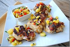 Grilled Chicken Thighs with Pineapple, pepper and corn relish from eatyourselfskinny