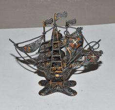 Spanish Sterling Ship Vintage Filigree by AcquiredAntiqueCo