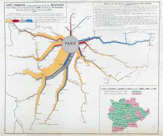 Figurative map of the amounts of cattle exported to Paris by railways in drawn by Charles Joseph Minard 1864 Timeline Architecture, Architecture Drawings, Information Visualization, Data Visualization, Information Design, Information Graphics, Flow Map, Map Diagram, Joseph