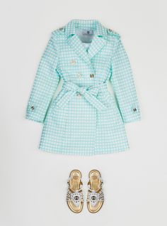 Versace!  Young Versace summer 2013 sweet checked trenchcoat for designer girls fashion