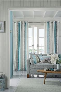 Teal Printed Broken Stripe Eyelet Curtains