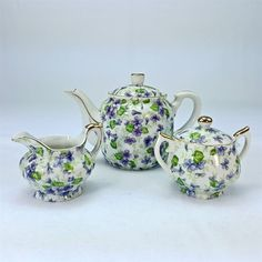 Lefton China Violet Chintz Miniature Creamer Covered Sugar Bowl Teapot Set 794V