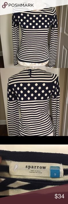 """Anthropologie Navy Polka Dot Sweater, Small S Navy/ivory Anthropologie brand """"Sparrow"""" sweater. Size small, very good condition. Smoke free home. 58% cotton 22% poly 18% viscose 2% cashmere. Striped and polka dot cuteness. Super soft and perfect to wear on a cool fall day. #sparrow #navy #white #small #sweater #Anthropologie  Measurements laying flat: 17"""" chest. 23"""" length. Anthropologie Sweaters"""