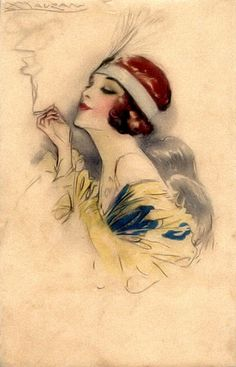 Art Deco Flapper Postcard Illustrated by Mauzan Art Deco Illustration, Illustrations, Art Quotidien, Moda Art Deco, Art Deco Tattoo, Art Deco Stil, 1920s Art, Art Deco Fashion, Vintage Postcards