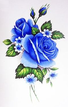 Flower Drawing 8122 Blue Rose tattoo - Wonderful collection of coordinating blue roses. Simple Rose, Simple Art, Easy Rose, Easy Flower Drawings, Drawing Flowers, Easy Art Lessons, Motifs Roses, Vintage Rosen, Plant Drawing