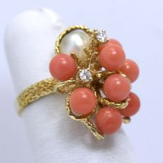 Vintage 14K .08TCW Diamond, Pearl and Coral Cocktail Ring