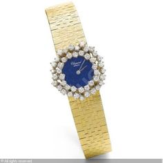 CHOPARD (France) - A LADY'S YELLOW GOLD AND DIAMOND-SET BRACELET WATCH WITH LAPIS LAZULI DIAL