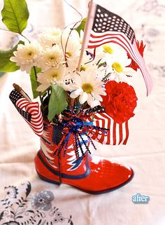 Cute! Use an old boot to decorate for your red, white and blue holidays!