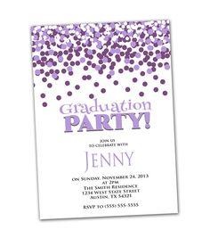 Graduation Party Invitation Purple Confetti Birthday Party Invite 5x7 Printable Party Invite JPEG file /High res 300DPI (11)