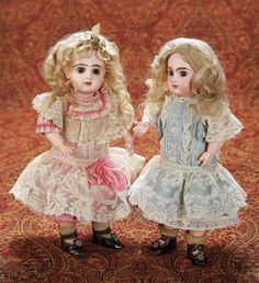 Petite French Bisque Brown-Eyed Bebe Jumeau in Original Pink Dress and Shoes 3000/4000