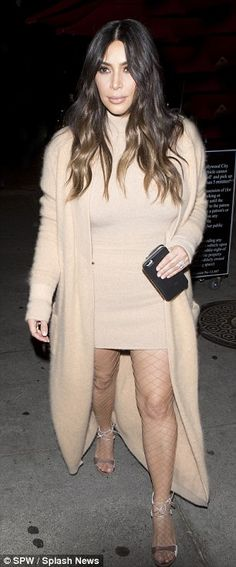 Chic: Stylist Monica Rose put the 35-year-old reality star in a beige cashmere turtleneck ...