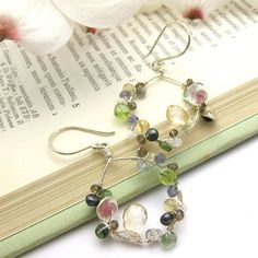 Perfect for spring fashion! Gemstone Hand Forged Earrings My Mother's Garden by byjodi, $145.00