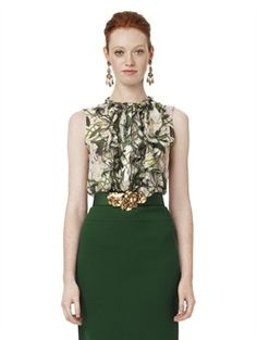 FLORAL PRINT SLEEVELESS RUFFLE FRONT BLOUSE, $1,050.00