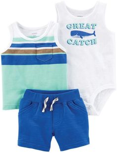 Let him mix and match with a tank-top bodysuit or tee paired with pull-on French terry shorts. Baby Boy Tops, Baby Boy Swag, Carters Baby Boys, Organic Baby Clothes, Baby Kids Clothes, Baby Clothes Shops, Boys Summer Outfits, Baby Boy Outfits, Kids Outfits