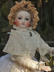 """Pretty French Poupee by Barrois with very rare """" Leon Pannier """" Body from WHEN DREAMS COME TRUE on Doll Shops United http://www.dollshopsunited.com/stores/whendreamscometrue/items/1289544/Pretty-French-Poupee-by-Barrois-very-rare-Leon-Pannier #dollshopsunited #antique #doll"""
