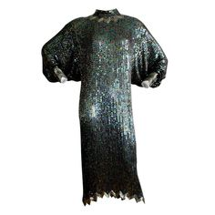 Important Vintage Halston Sequin Dolman Dress | From a collection of rare vintage evening dresses at http://www.1stdibs.com/fashion/clothing/evening-dresses/