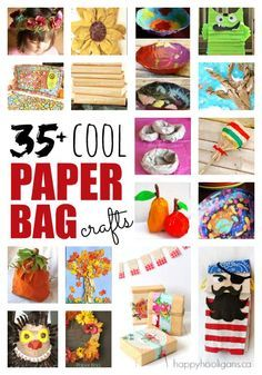 35+ Very Cool Things to Make with a Paper Bag:  Creative ways to re-use grocery bags, lunch bags or any brown paper bags.  Easy, fun crafts for kids of all ages. - Happy Hooligans