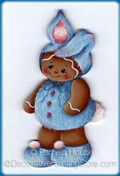 The Decorative Painting Store: Blue Bunny Ginger Pattern - Pamela House, Newly Added Painting Patterns / e-Patterns - Gingerbread dressed in blue buny costume - ornament or magnet Gingerbread Decorations, Gingerbread Ornaments, Gingerbread Man, Easter Crafts, Holiday Crafts, Blue Bunny, Pintura Country, Tole Painting, Painting Patterns