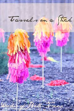 Tissue Tassels on a stick. Great for a whimsical Dr. Suess party