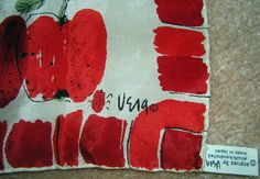 Vera Neumann Scarf Vintage 60s Ladybug Signature - Red Apples on Large Square - Hand Rolled Silk