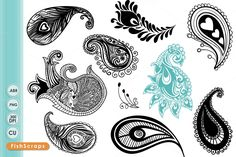 Peacock Paisley - Clip Art + Brushes by FishScraps on Creative Market