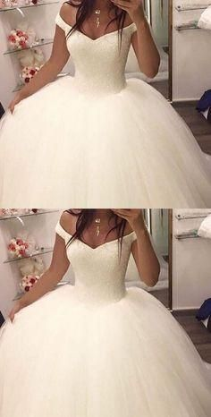 8bd059314af Ball Gown Off-the-Shoulder Sleeveless Sweep Train Wedding Dress with  Sequins M3911
