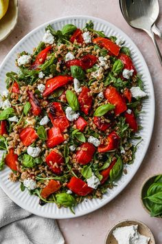 This easy roasted pepper salad recipe is made with farro, goat cheese, arugula, basil, and a simple white wine + lemon vinaigrette dressing. It can be enjoyed warm or cold, and served as either an entree style salad or as a side dish. How To Cook Farro, New Recipes, Salad Recipes, Homemade Frozen Yogurt, Lemon Vinaigrette Dressing, Lime Quinoa, Making Quinoa, Large Salad Bowl