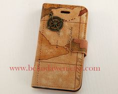 Vintage World Map for Samsung Galaxy S2 S3 S4 case, N7100 Note 2 case, iphone 4 4s case,iphone 5 case, with Bronze compass on Etsy, $14.99