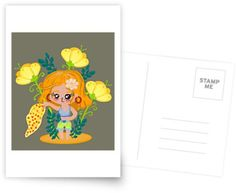 Cute post on my redbubble shop. Vibrant color chibi style or cartoon style greeting cards, posts Girls With Flowers, Summer Flowers, Cute Posts, Canvas Prints, Art Prints, Cartoon Styles, Summer Girls, Vibrant Colors, Chibi