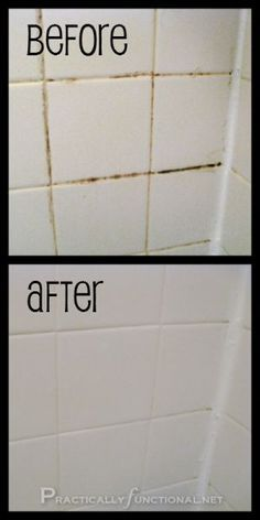 i got a free can of scrubbing bubbles- works like oven cleaner but without the harsh chemical smell. Beauty for this type of tiles. The vinegar is better than bleach, i think, for mixing with the baking soda- for my lungs anyway. Bleach in my shower would nearly take me out! Ahaha- i'm a pillar of strength, eh? B)