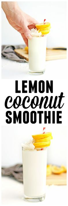 Healthy lemon coconut smoothie recipe! A tart, yet sweet way to load up on probiotics and nutrients. // Rhubarbarians // yogurt smoothie / tropical smoothie