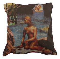 Mermaid cushion Beautiful digital printed cushion based on the famous Danish poet H. Andersen story the little mermaid, hand made in Spain Cushions For Sale, Printed Cushions, Hans Christian, The Little Mermaid Story, Cushion Pillow, Pillows, Digital Prints, Fairy Tales, House Design
