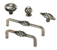 Classic Basket weave Twist Cage Kitchen Unit Cupboard Handles Knob Antique Pewte