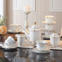 ShoppyStar British Gold Pearl Bone China Coffee Set British Porcelain Tea Set Ceramic Pot Creamer Sugar Bowl Teatime Teapot Coffee Cup Mug: Full Set Coffee Cups, Tea Cups, English Afternoon Tea, Golden Decor, Vase Deco, China Crafts, Ceramic Materials, Deco Table, Ceramic Cups