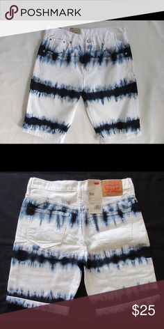 Levi's Mens Tye Dye Blue White Jeans Shorts Sz 30 New without Tags LEVI'S 508 regular taper fit men's denim shorts. Hangs on hip, below the knee. The waterless collection includes the classic styles you lovemade with a lot less water.  Levi's 508 regular taper shorts fit looser at the waist and thigh with a gradual taper down through the thigh. Msrp $68.00 Size: 30 (318580106) color: tie-dyed reverse dress blues standard fit-  hangs on hip -  tapered leg -  100% cotton Levi's Shorts