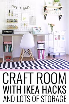 Craft room organized with storage for craft supplies and IKEA hacks!    #craftroom #homeoffice #ikea #ikeahack #diydesk #craftroomorganization #craftsupplies #organization #craftstorage #ikeahackdesk #homedecor