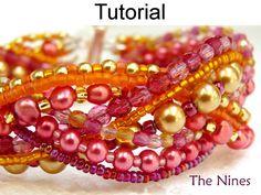 The Nines Beading Pattern - Beaded Multistrand Bracelet Tutorial #1500