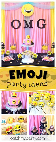 Check out this awesome pre-teen Emoji birthday party. Love the cookies!! See more party ideas and share yours at catchMyParty.com