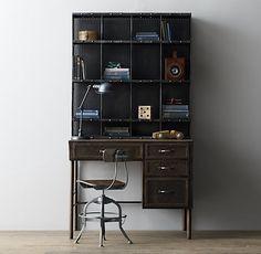 """Vintage Apothecary Shop Desk Hutch: Shop Desk: 38""""W x 24""""D x 30""""H Clearance under desk: 21""""W x 23½""""H x 24""""D Shop Hutch: 38""""W x 9""""D x 40½""""H $549"""