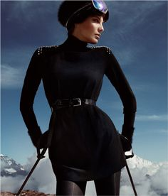 Daria Werbowy Hits the Slopes for H Love the Holidays Winter 2012 Campaign