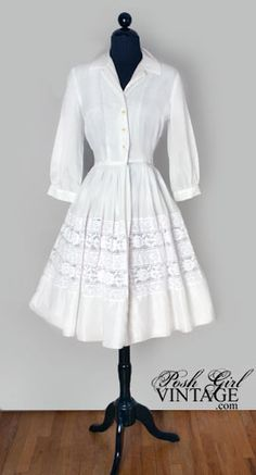 Vintage 60's White Tea Length Shirt Dress