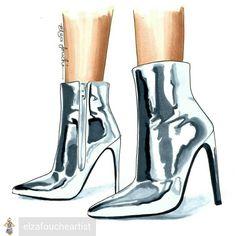 """Mi piace"": 900, commenti: 4 - Fashion Illustration's Empire (@illustrationsempire) su Instagram: ""Artwork by @elzafoucheartist - Tony Biancos metallic boots 👏  #art🎨 #artist #artwork #artfashion…"""