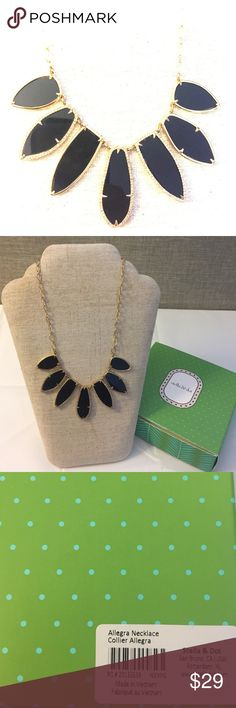 """NWB stella & dot Allegra Necklace Still in the box has only been used for display! Bezel set epoxy with pave detail. Very light weight, clean, modern and classic at the same time. Gold plating. 18"""" long but length can be adjusted with the lobster style clasp. Comes with original box gift bag and tissue. Stella & Dot Jewelry Necklaces"""