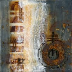 Pam Nichols - Encaustic Artist - Evidence of Time. Encaustic with rust, paper and found object on wood panel x Collages, Wax Art, Encaustic Art, Assemblage Art, Art Techniques, Painting Inspiration, Altered Art, Art Lessons, Abstract Art