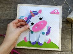 Unicorn Quiet Book Page - Pattern & Tutorial Available Diy Quiet Books, Baby Quiet Book, Felt Quiet Books, Quiet Book Templates, Quiet Book Patterns, Water Games For Kids, Summer Activities For Kids, Family Activities, Outdoor Activities