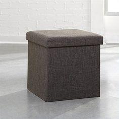 Sauder Soft Modern Upholstered Storage Ottoman, Dark Gray Linen