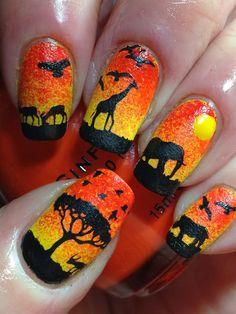 Canadian Nail Fanatic: Out of Africa! Nail Art Designs Videos, Cute Nail Art Designs, Creative Nail Designs, Creative Nails, Creative Makeup, Fancy Nails, Cute Nails, Nail Art Techniques, Nagellack Design