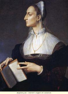 """""""Retrato de Laura Battiferri"""", c. 1558, por Agnolo Bronzino (italiano, 1503-1572). Battiferri (1523-1589) fue un famoso poeta italiano del Renacimiento. Ella escribió más de 400 poemas, que fueron ampliamente leídos durante su vida, tanto en Italia como en el extranjero."""