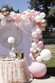 A very sweet swan themed birthday party in Orange County The theme was swan and included a lot of pink white and gold 1st Birthday Party For Girls, Ballerina Birthday Parties, Girl Birthday Decorations, Ballerina Party, Girl Baby Shower Decorations, Pink Birthday, 1st Birthday Party Ideas For Girls, Birthday Table, Decoracion Baby Shower Niña